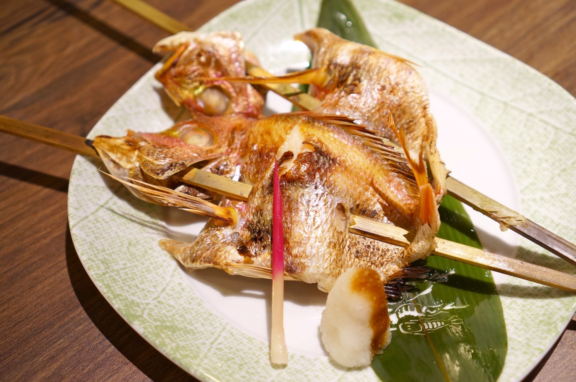 This is irori genshiyaki-style, where the fish hits the open charcoal ...
